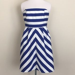 Outback Red striped nautical strapless dress